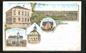 Lithographie Alsheim, Gasthaus zur Stadt Columbus, Villa Krämer, Gemeindehaus