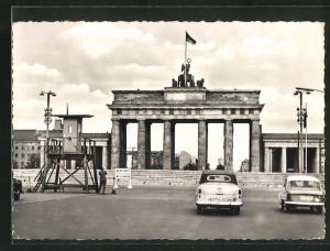 AK Berlin, Brandenburger Tor, Mauer, Grenze