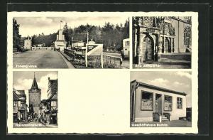 AK Helmstedt, Zonengrenze, Geschäftshaus Buchta, Alte Universität, Hausmannsturm