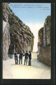AK Menton, Frontiere Franco Italienne, Grenze