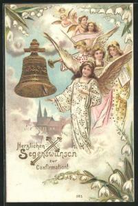 Präge-AK wunderschöne Engel mit Glocke im Himmel, Konfirmation