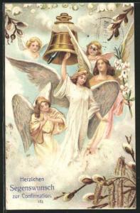 Präge-AK Engel läuten die Glocke zur Konfirmation