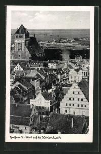 AK Greifswald, Blick auf die Marienkirche