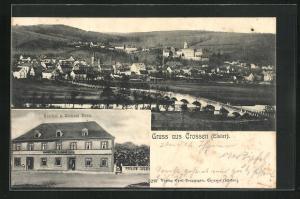 AK Crossen / Elster, Gasthaus zum weissen Ross, Ortsansicht