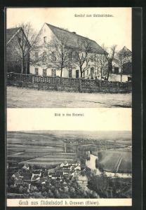 AK Nickelsdorf / Elster, Gasthaus zum Waldschlösschen, Panorama