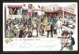 Lithographie Griesheimer Kerb, Volksfest, Leierkastenspieler