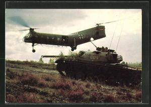 AK Deutsche Bundeswehr, Transporthubschrauber Vertol H 21 und Panzer M 48