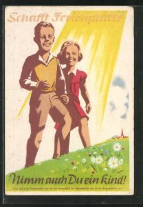 Künstler-AK Schaff Ferienplätze - Nimm auch Du ein Kind!, DDR-Propaganda