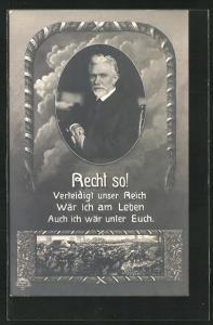 AK Portrait von August Bebel, Recht so! Verteidigt unser Reich...