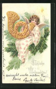 Präge-Lithographie Fröhliche Weihnachten!, Weihnachtsengel mit Lebkuchen-Posthorn