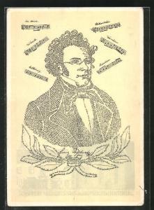 AK Franz Schubert in Lied und Bild, 1828 - 1928, Kalligraphie-Portrait