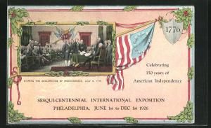 AK Philadelphia, PA, Sesqui-Centennial International Exposition 1926, Signing the Declaration of Independence 1776