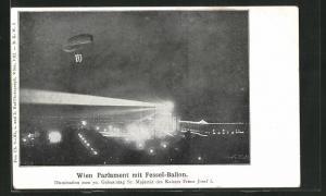 AK Wien, Parlament mit Fesselballon, Illumination zum 70. Geburtstag des Kaisers Franz Josef I.