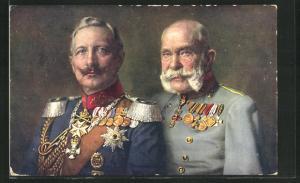AK Rotes Kreuz Nr. 128, Kaiser Franz Josef I. von Österreich und Kaiser Wilhelm II. in Treue vereint, Kriegsfürsorge