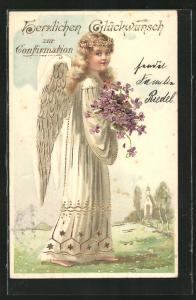 Präge-AK Engel mit Blumen, Glückwunsch zur Konfirmation