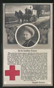 AK Portrait Kaiserin Auguste Victoria Königin von Preussen, Rotes Kreuz-Sanitätskutsche auf dem Weg