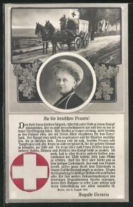 AK Portrait Kaiserin Auguste Victoria Königin von Preussen, Kutsche des Rotes Kreuzes in Fahrt