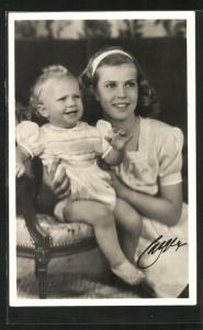 AK Prinzessin Margaretha von Schweden mit ihrem Schwesterchen