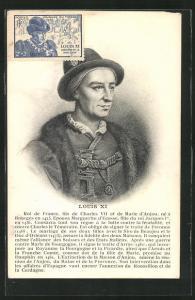 AK Portrait König Louis XI von Frankreich in Pelzkleidung mit Kette und Hut
