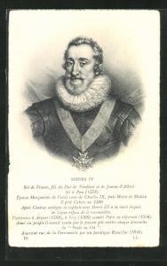 AK Portrait Henri IV. von Frankreich in edler Tracht mit Kreuzkette und Halskrause