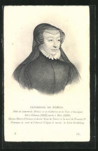 AK Portrait Catherine de Médicis von Frankreich im Kleid mit Halskrause und Schleier