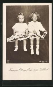 AK Kronprinz Otto von Österreich und Erzherzogin Adelheid in weissen Kleidchen mit Bilderbuch