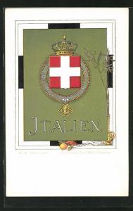 AK Italien, Wappen auf grünem Grund