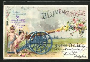 Duft-Lithographie Blumengrüsse, Frohes Neujahr, Putten als Kanoniere