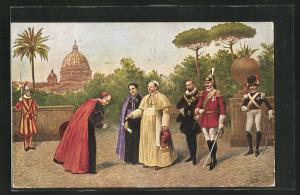 AK Pio XI. e la sua Corte nei Giardini Vaticani, Papst Pius XI.