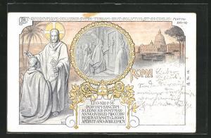 AK Roma, Papst Leo XIII. vor der Porta Coeli