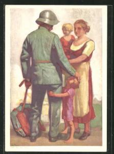Künstler-AK E. Hodel: Schweizer Bundesfeier 1929, Für die Schweizerische Nationalspende, Soldat und Familie, Ganzsache