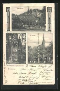 AK Blexen, Willehadusbrunnen, Kirche, Pastorei