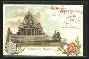 AK Spangenberg, Motiv vom Liebenbach-Brunnen, Wappen