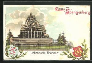 AK Spangenberg, Liebenbach-Brunnen und Wappen