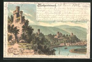 Lithographie Neckarsteinach, Motiv aus dem Neckarthal