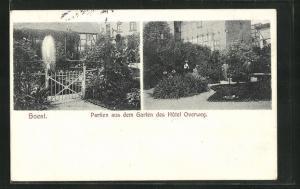 AK Soest, Partien aus dem Garten des Hôtel Overweg