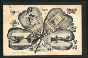 AK Telgte, Kleeblatt mit Ansichtskartenmotiven