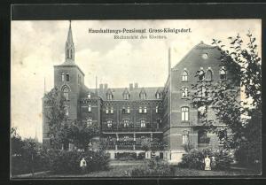 AK Gross-Königsdorf, Haushaltungs-Pensionat, Rückansicht des Klosters