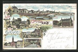 Lithographie Offenbach a. M., kath. Kirche, Alicenplatz, Altes Schloss, Schlosskirche