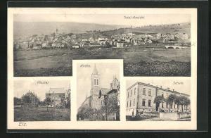 AK Elz, Kloster, Kirche, Schule, Totalansicht