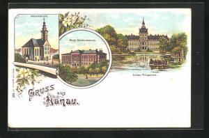 Lithographie Hanau, Johanneskirche, Kgl. Zeichen-Academie, Schloss Philippsruhe