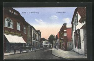 AK Varel i. Oldenburg, Kirchhofstrasse mit Geschäft