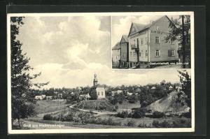 AK Niedermeilingen, Gasthaus von Edmund Jud, Ortsansicht