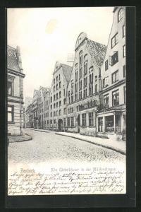 AK Rostock, Alte Giebelhäuser in der Mühlenstrasse