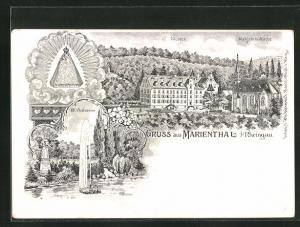 Lithographie Marienthal / Rheingau, Kloster und Wallfahrtskirche, Hl. Antonius