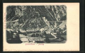AK Amsteg, Ortsansicht mit Gotthardbahn