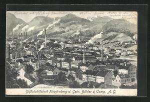 Künstler-AK Karpfenberg, Blick auf die Gussstahlfabrik der Gebr. Böhler & Camp