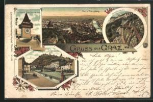 Lithographie Graz, Schlossberg, Uhrturm, Ortsansicht