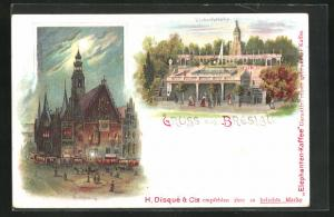 Lithographie Breslau, Gasthaus Liebichshöhe, Rathaus