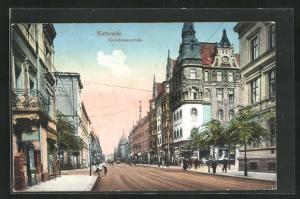 Künstler-AK Kattowitz, Grundmannstrasse mit Passanten